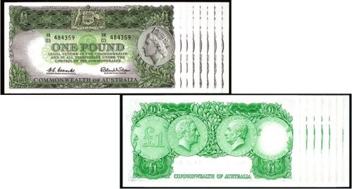 1961 CONSEC. RUN OF 8 COOMBS & WILSON ONE POUND NOTES