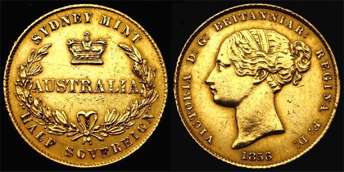 1856 TYPE I SYDNEY MINT HALF SOVEREIGN