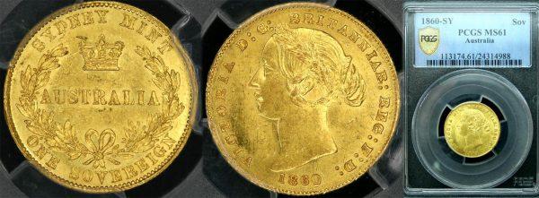 1860 SYDNEY MINT SOVEREIGN    LUSTROUS UNC   PCGS MS61