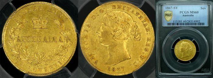 1867 SYDNEY MINT SOVEREIGN   PCGS MS60