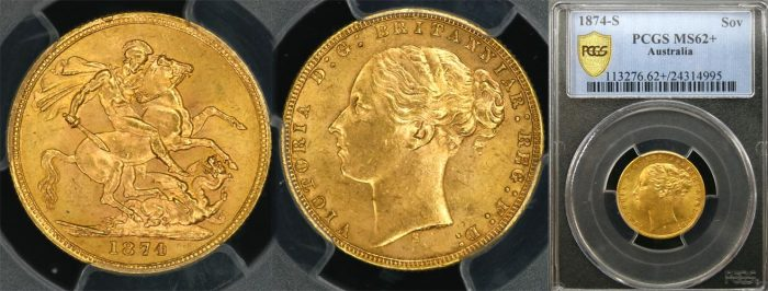 1874 SYDNEY MINT YOUNG HEAD SOVEREIGN   PCGS MS62+