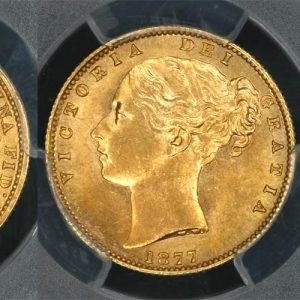 1877 SYDNEY SHIELD SOVEREIGN    PCGS MS62