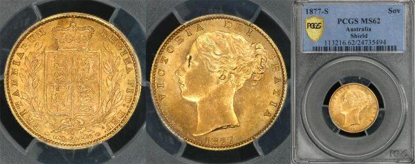 1877 SYDNEY SHIELD SOVEREIGN    PCGS MS62