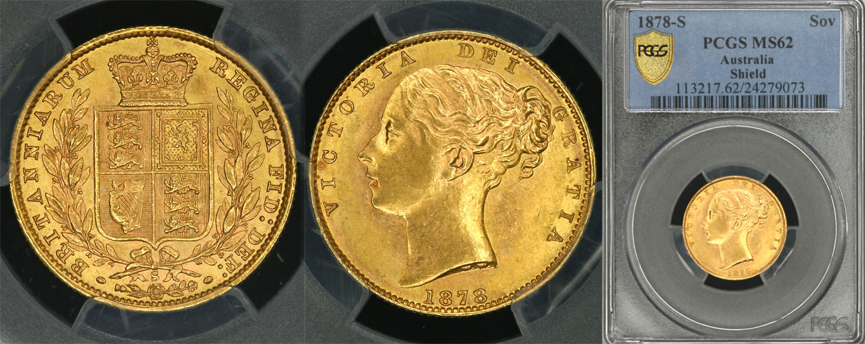 1878 SYDNEY SHIELD SOVEREIGN   PCGS MS62