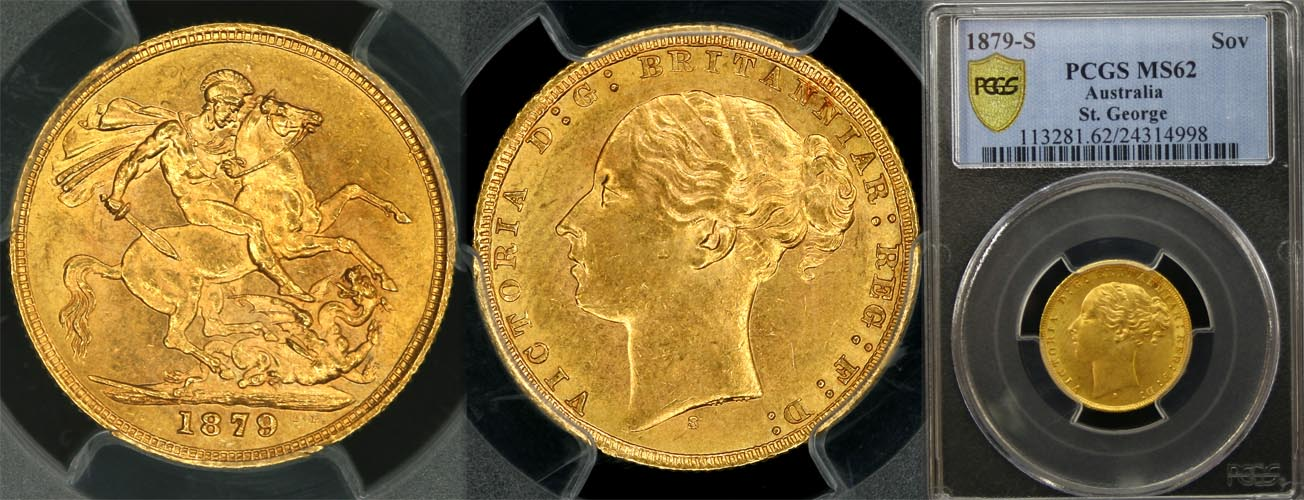 1879 SYDNEY MINT YOUNG HEAD SOVEREIGN   PCGS MS62