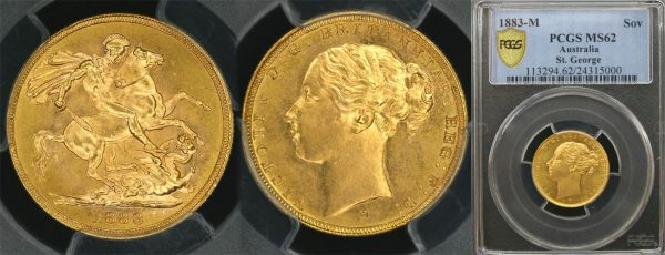 1883 MELBOURNE MINT YOUNG HEAD SOVEREIGN   PCGS MS62