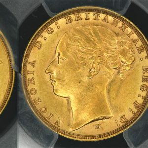 1884 MELBOURNE MINT YOUNG HEAD SOVEREIGN   PCGS MS61