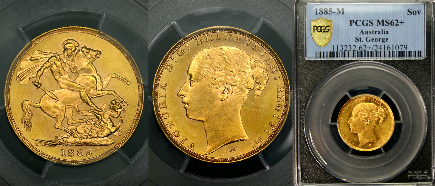 1885 MELBOURNE MINT YOUNG HEAD SOVEREIGN   PCGS MS62+