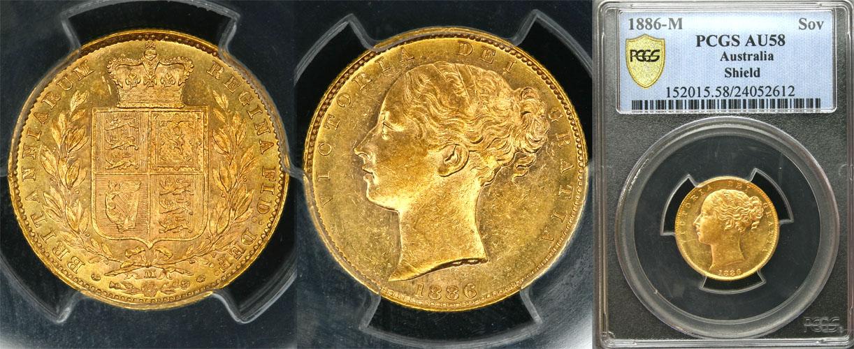 1886 MELBOURNE SHIELD SOVEREIGN  (exNGC MS61) PCGS AU58