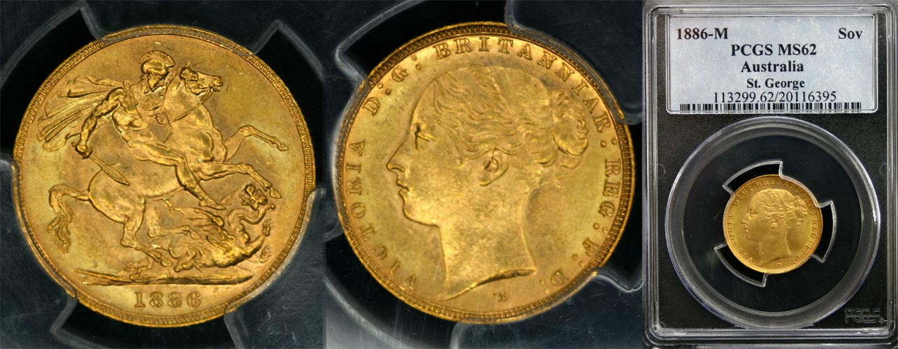 1886 MELBOURNE MINT YOUNG HEAD SOVEREIGN   PCGS MS62