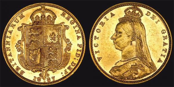 1887 MELBOURNE JUBILEE HEAD HALF SOVEREIGN