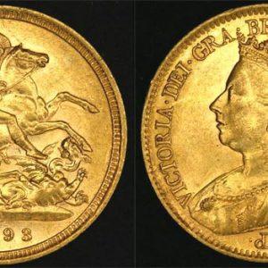 1893 SYDNEY MINT VEILED HEAD HALF SOVEREIGN (UNC)