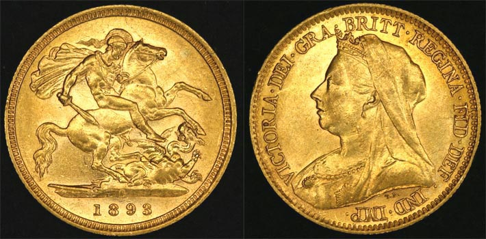 1893 SYDNEY MINT VEILED HEAD HALF SOVEREIGN (UNC)