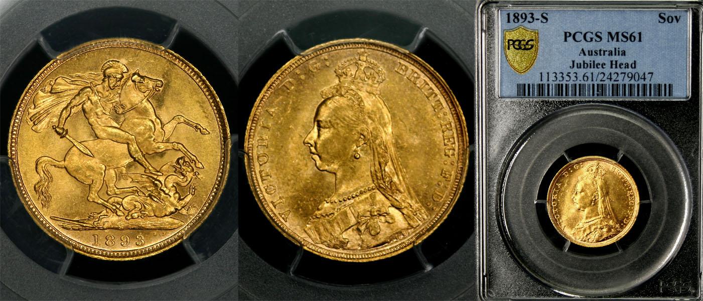 1893 SYDNEY MINT JUBILEE HEAD SOVEREIGN   PCGS MS61 NICE