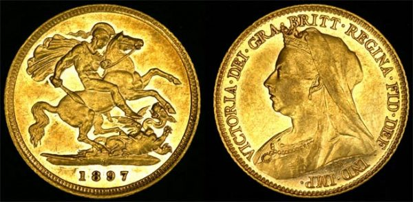 1897 SYDNEY MINT VEILED HEAD HALF SOVEREIGN