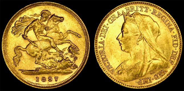 1897 SYDNEY MINT VEILED HEAD HALF SOVEREIGN (UNC)