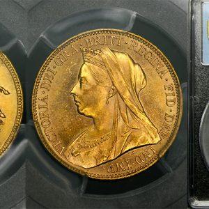 1898 MELBOURNE MINT VEILED HEAD SOVEREIGN   PCGS MS62