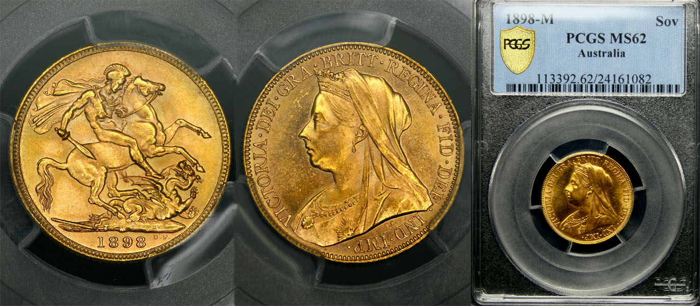 1898 MELBOURNE MINT VEILED HEAD SOVEREIGN   PCGS MS62