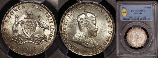 1910 KING EDWARD VII  AUSTRALIA FLORIN   PCGS MS63
