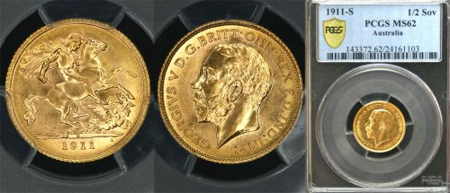 "1911 SYDNEY MINT HALF SOVEREIGN   ""PCGS MS62"""