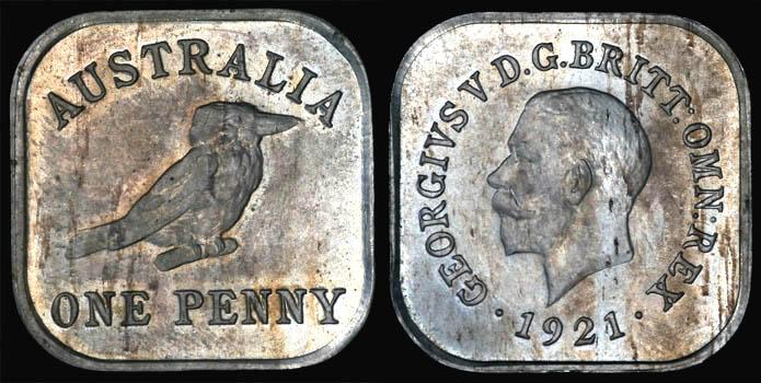 1921 King George V AUSTRALIA KOOKABURRA PENNY (Type 12)