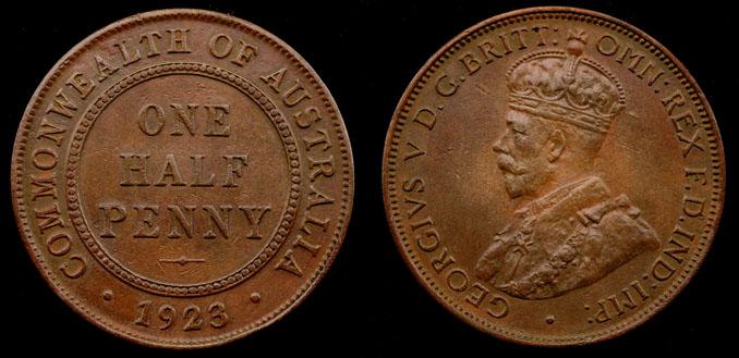 1923 K.G. V AUSTRALIA HALF PENNY (a EXT FINE/EXT FINE)