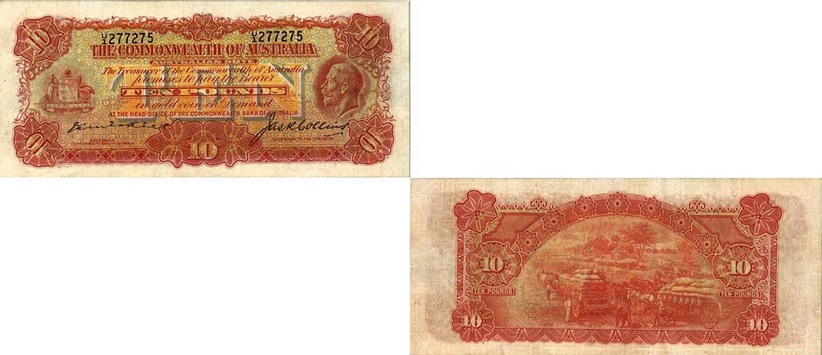 1925 K.G. V KELL & COLLINS TEN POUND NOTE