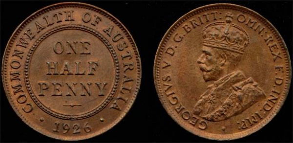 1926 K.G. V AUSTRALIA HALF PENNY (LOVELY CHOICE UNC)