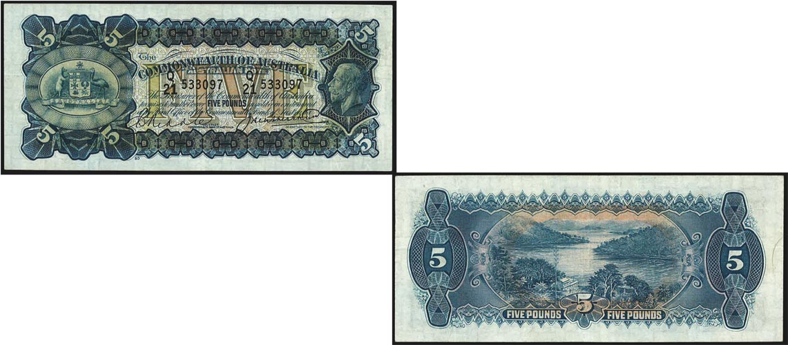 1927 K.G. V RIDDLE & HEATHERSHAW FIVE POUND NOTE