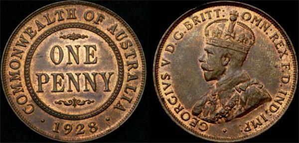 1928 K.G. V AUSTRALIA PENNY (CHOICE UNC)