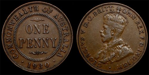 "1930  KING GEORGE V  AUSTRALIA PENNY   ""Superior Example"""