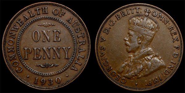 "1930  KING GEORGE V  AUSTRALIA PENNY   ""Superior Example"""