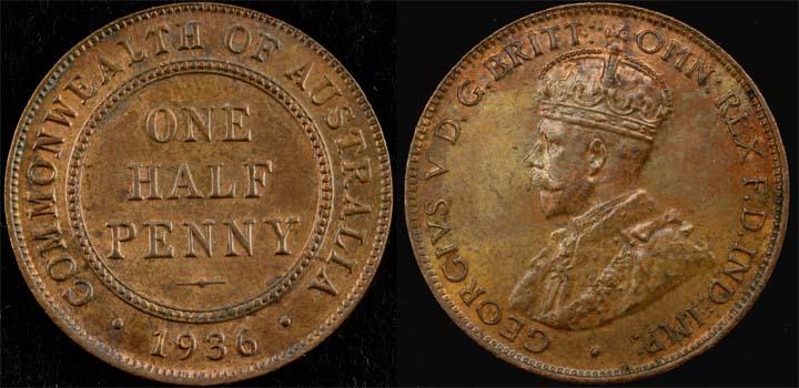 1936 K.G. V AUSTRALIA HALFPENNY