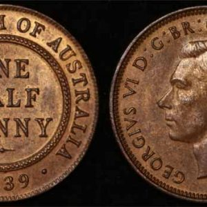 1939 K.G. VI AUSTRALIA HALFPENNY (FIRST REVERSE) CH. UNC