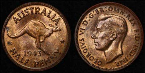 1943 MELBOURNE K.G. VI AUSTRALIA HALFPENNY   Choice Unc