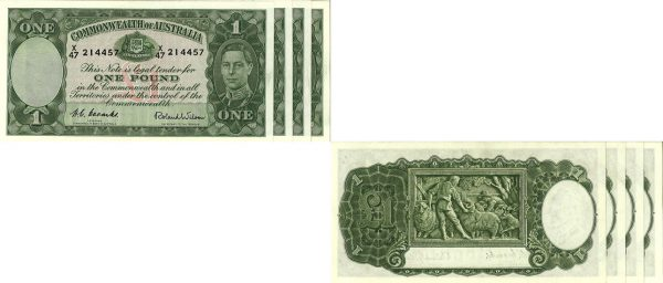 1952 K.G. CONSEC. RUN OF 4 VI COOMBS & WILSON ONE POUND NOTE