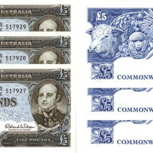 1960 CONSEC. TRIO Q.E. II COOMBS & WILSON FIVE POUND NOTE