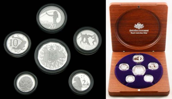 2007 AUSTRALIAN 6 COIN PURE SILVER PROOF COIN SET