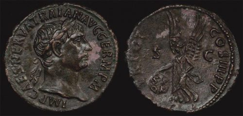 98-117 AD ANCIENT ROME - TRAJAN AE AS