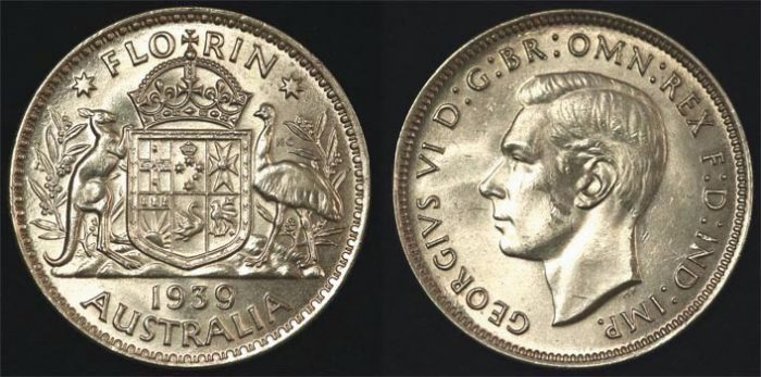 1939 KING GEORGE VI AUSTRALIA FLORIN