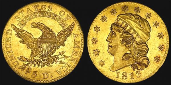 1813 UNITED STATES CAPPED LIBERTY HEAD FIVE DOLLAR
