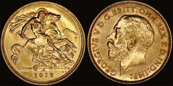 1912 SYDNEY MINT HALF SOVEREIGN