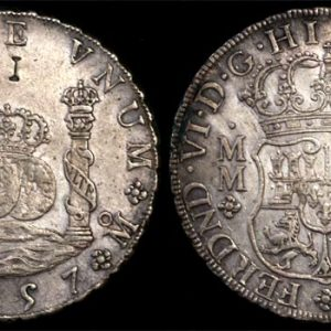 """1757 M MEXICO FERDINAND VI 8 REALES  """"I"""" punchmark"""