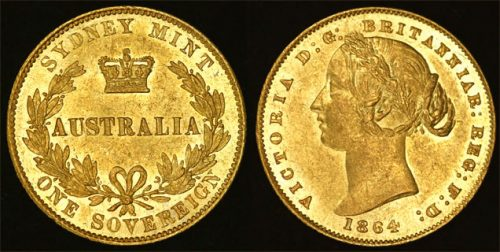 1864 SYDNEY MINT SOVEREIGN CHOICE UNC