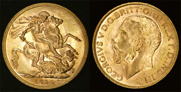 1914 MELBOURNE MINT K.G. V SOVEREIGN