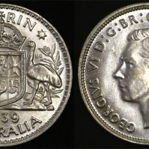 1939 KING GEORGE VI AUSTRALIA FLORIN   CHOICE UNC