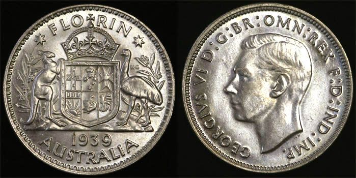 1939 KING GEORGE VI AUSTRALIA FLORIN   CHOICE UNC