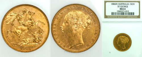 1886 MELBOURNE MINT YOUNG HEAD SOVEREIGN  Slabbed NGC MS61
