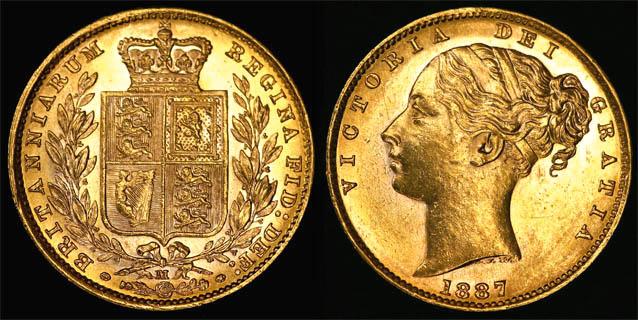 1887 MELBOURNE SHIELD SOVEREIGN   UNC/CHOICE UNC