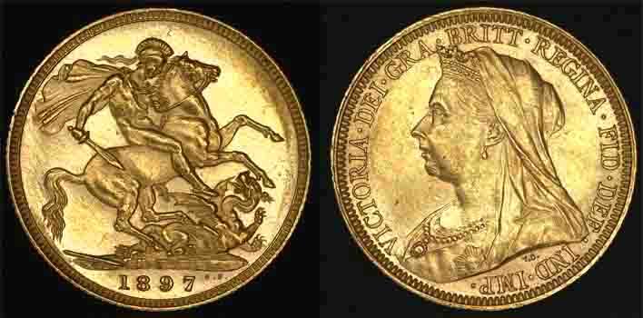 1897 SYDNEY MINT VEILED HEAD SOVEREIGN